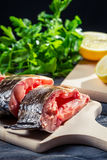 Fresh fish with lemon and salt Royalty Free Stock Photography