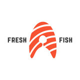 Fresh fish logo with piece of salmon. Concept of nutrition, abstract letter a, roll ingredient, fishing. isolated on white background. flat style trend modern Royalty Free Stock Image
