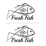 Fresh fish logo symbol icon sign simple black colored set 7. A set of two fish logos with a visible mouth line, black, sketch style, minimalist with a sample Stock Photo