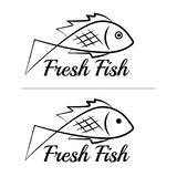 Fresh fish logo symbol icon sign simple black colored set 2. A set of two fish logos, black, sketch style, minimalist with a sample text Stock Photo