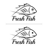 Fresh fish logo symbol icon sign simple black colored set 8. A set of two fish logos with a visible mouth line, black, sketch style, minimalist with a sample Royalty Free Stock Images