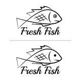 Fresh fish logo symbol icon sign simple black colored set 9. A set of two fish logos with a visible mouth line, black, sketch style, minimalist with a sample Royalty Free Stock Photo