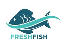 Fresh fish logotype in blue color isolated on white. Fresh fish in water wave logotype in blue color isolated on white. Vector colorful graphic illustration in Royalty Free Stock Image