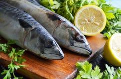 Fresh fish mackerel. With lemon on a chopping board Stock Photo