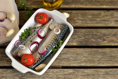 Fresh fish mackerel with spices, herbs, vegetables Stock Images