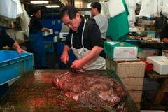 Fresh fish main cut by professional Japanese tuna handler Stock Image