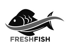 Fresh fish market promotional black and white logo. Type with wave that splits big scaly fish in half isolated flat vector illustration on white background Stock Photography