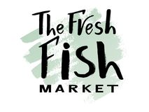 The fresh fish market on watercolor. Vector lettering of text The fresh fish market on watercolor spot. Modern calligraphy.Template of logotype of fish shop Stock Image