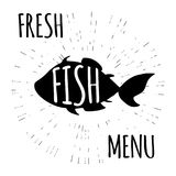 Fresh fish menu,funny doodle. Vector illustration Stock Image