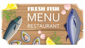 Fresh Fish Menu Restaurant with Sea Products. On cutting wooden board. Vector illustration of advertising for eating out establishment Stock Photography
