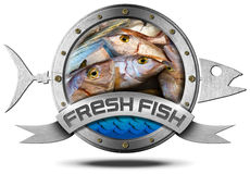 Fresh Fish - Metal Icon. Metallic icon with metallic fish and ribbon with inside fresh fishes at market. Isolated on a white background Stock Photography