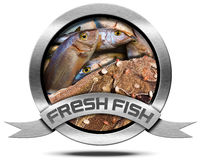 Fresh Fish - Metal Icon. Round metallic icon with metallic ribbon, fresh fishes at market and fishing net.  on a white background Stock Images