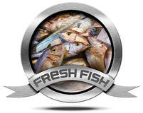 Fresh Fish - Metal Icon. Round metallic icon with metallic ribbon and fresh fishes at market. Isolated on a white background Royalty Free Stock Photography