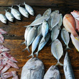 Fresh fish and other seafood on  wooden table Royalty Free Stock Photography