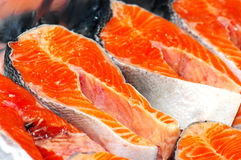 Fresh fish pieces. Red fish. Selective focus Royalty Free Stock Photo