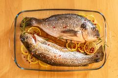 Fresh fish on the plate ready for cook royalty free stock images