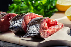 Fresh fish preparation for frying Stock Images
