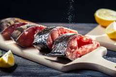 Fresh fish preserved in salt before frying Stock Photography