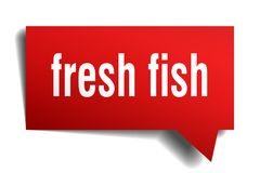 Fresh fish red 3d speech bubble. Fresh fish red 3d square isolated speech bubble Stock Photos