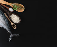 Fresh fish, rice and spices Stock Images