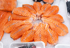 Fresh fish salmon sliced for sale Stock Image