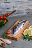 Fresh fish sea bass. On wooden table Royalty Free Stock Image