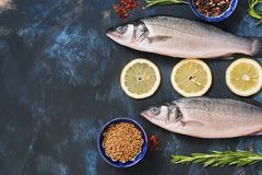 Fresh fish sea bass and ingredients for cooking - lemon, rosemary, bell pepper, sumac, coriander, paprika. Raw fish on a blue back. Ground. Top view, copy space Stock Images