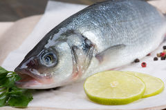 Fresh fish - sea bass. Pepper and lime Royalty Free Stock Photos