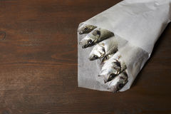 Fresh fish, sea bass. Ready for cooking Royalty Free Stock Photo