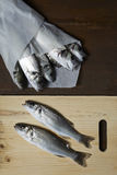 Fresh fish, sea bass. Ready for cooking Stock Images