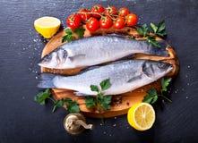 Fresh fish sea bass. On wooden board Stock Image