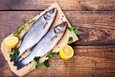 Fresh fish sea bass. On wooden table Stock Image