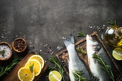 Fresh fish seabass on black. Fresh fish seabass and ingredients for cooking. Raw fish seabass with spices and herbs on black slate background. Top view with Stock Image