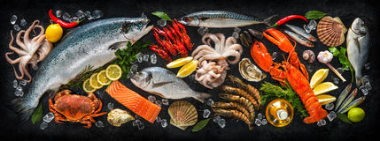 Fresh fish and seafood. Arrangement on black stone background stock images