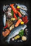 Fresh fish and seafood Stock Photos