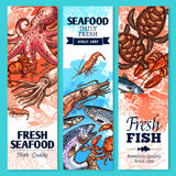 Fresh fish and seafood sketch banner set. Fish and seafood sketch banner set. Fresh crab, salmon, shrimp, lobster, tuna, octopus, mackerel, sea turtle, squid and Royalty Free Stock Image