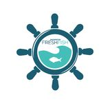 Fresh fish showroom emblem with steering wheel and fish Royalty Free Stock Photography