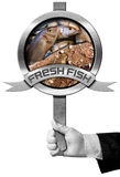 Fresh Fish - Sign with Hand of Chef. Hand of chef holding a metal sign with fresh fishes, fishing net and metal ribbon with text Fresh fish. Isolated on white Royalty Free Stock Images