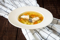 Fresh fish soup with pike perch and vegetables in a white plate Royalty Free Stock Photography