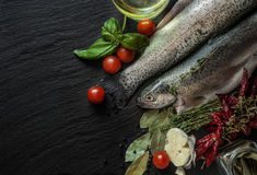 Fresh fish with spices, basil and cherry tomatoes Royalty Free Stock Photography
