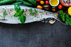 Fresh fish with spices Royalty Free Stock Photography