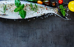 Fresh fish with spices Stock Photos