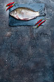 Fresh fish with spices on a stone board. Fresh fish with chilli isolated on a stone board Royalty Free Stock Photos