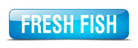 Fresh fish button. Fresh fish square 3d realistic isolated glass web button. fresh fish Stock Photo