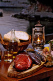 Fresh fish on table set up Stock Images
