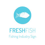 Fresh fish vector logo with the footprint sign Stock Photo