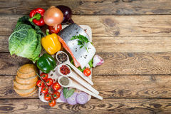 Fresh Fish, Vegetables and Spices Stock Photography