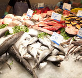 Fresh fishes in a market. In La Boqueria, market Barcelona Royalty Free Stock Photo