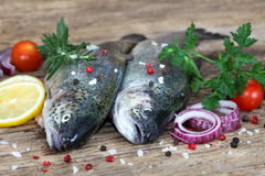 Fresh fishes with spices and seasoning. On rustic board Stock Images