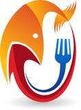 Fresh fishing food logo. Illustration art of a fresh fishing food logo with  background Stock Images